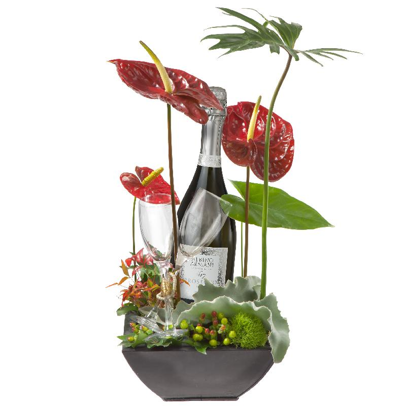 Bouquet de fleurs Exotic Wonder with Prosecco Albino Armani DOC (75cl) and  tw