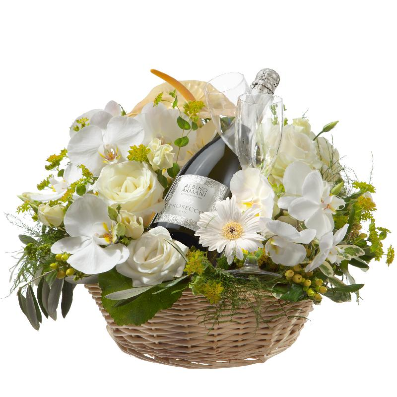 Bouquet de fleurs For the Party to End all Parties, with Prosecco Albino Arman