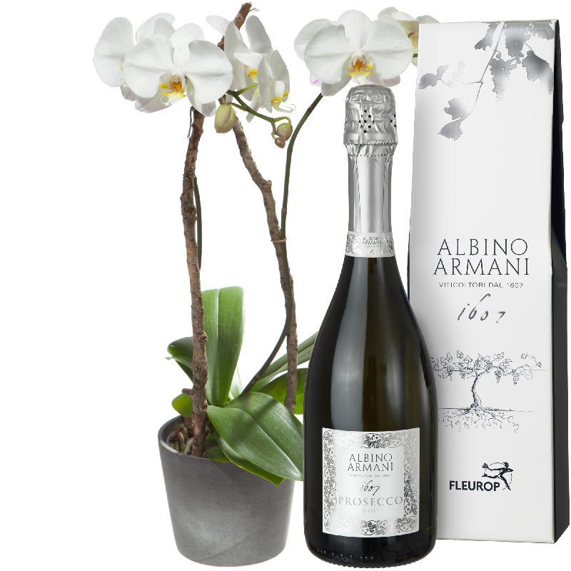 Bouquet de fleurs Precious and Unforgettable with Prosecco Albino Armani DOC (