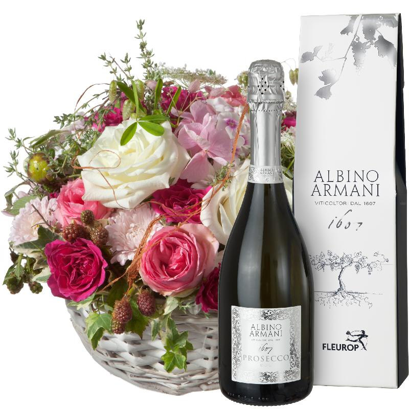 Bouquet de fleurs A  Basket full of Poetry with Prosecco Albino Armani DOC (75