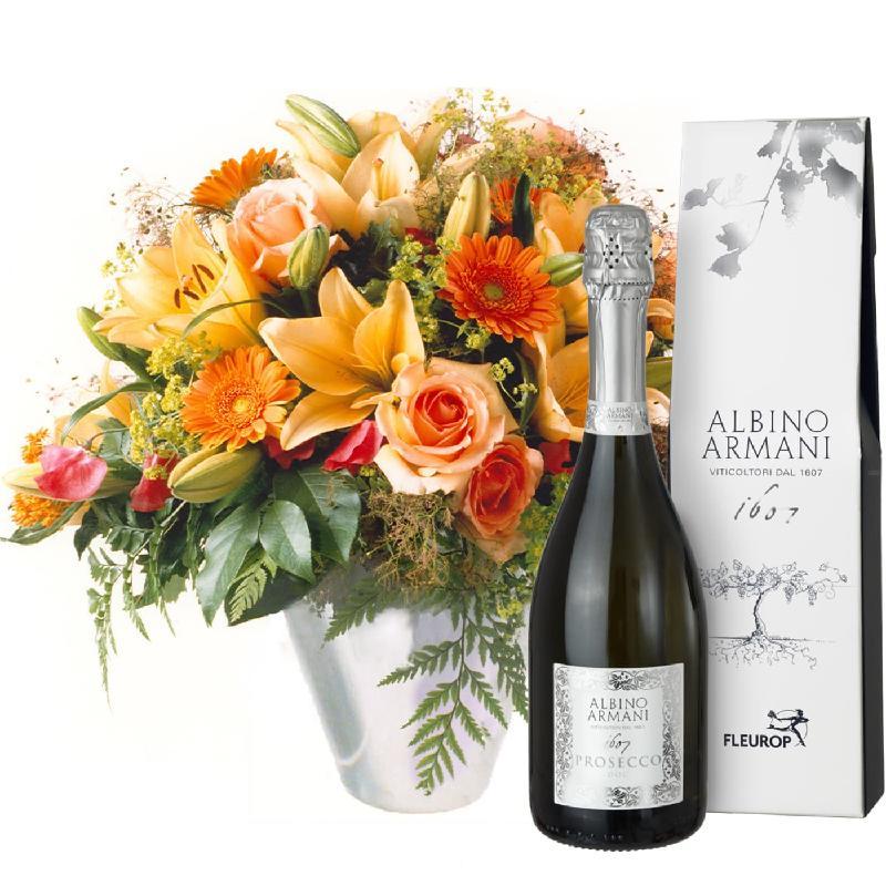 Bouquet de fleurs Gorgeous Bouquet of Flowers with Prosecco Albino Armani DOC