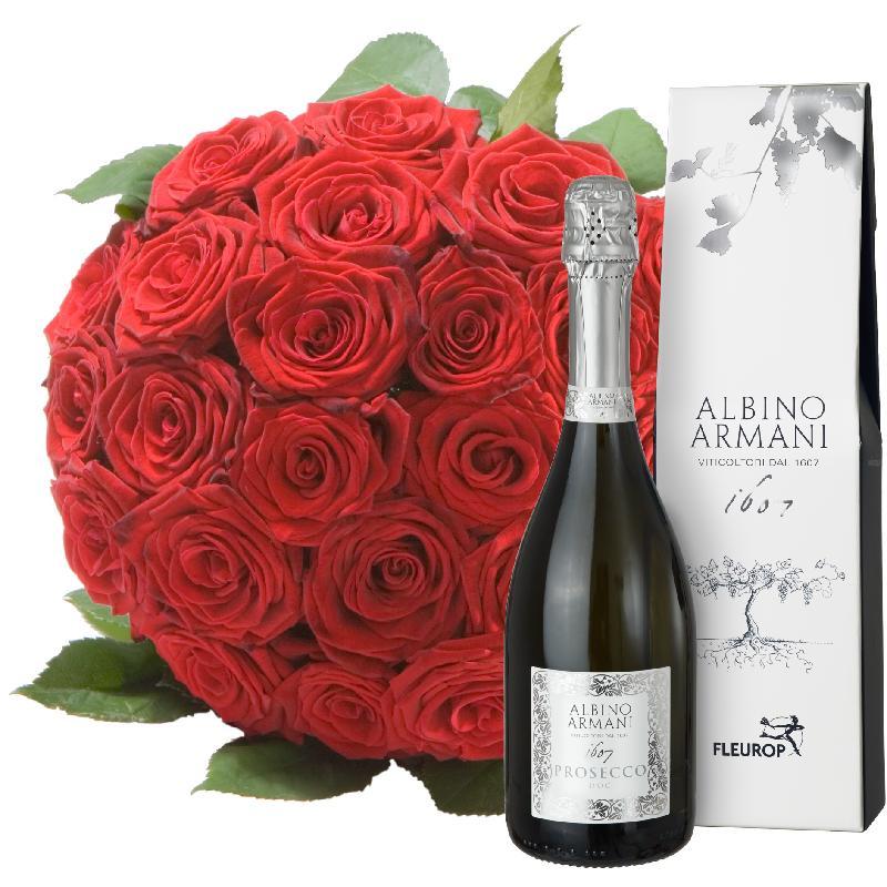 Bouquet de fleurs Pearl of Roses in Red with Prosecco Albino Armani DOC (75cl)
