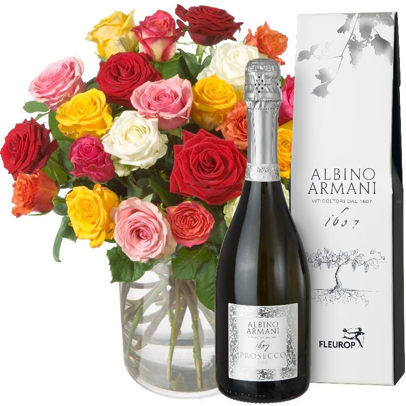 Bouquet de fleurs Colorful Bouquet of Roses (24 roses) with Prosecco Albino Ar