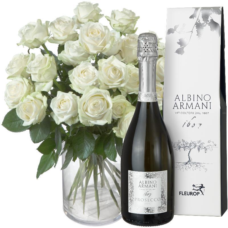 Bouquet de fleurs 24 White Roses with Prosecco Albino Armani DOC (75cl)
