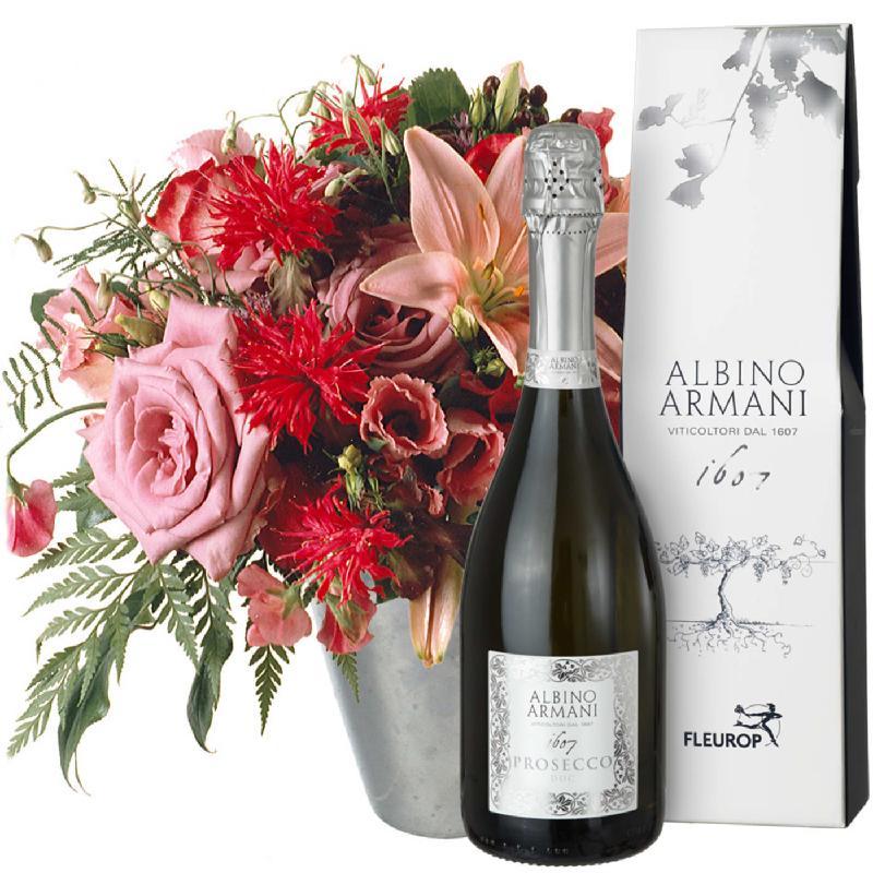 Bouquet de fleurs Lily princess with Prosecco Albino Armani DOC (75cl)