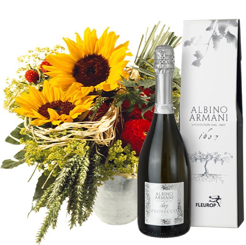 Bouquet de fleurs Top of Summer with Prosecco Albino Armani DOC (75cl)
