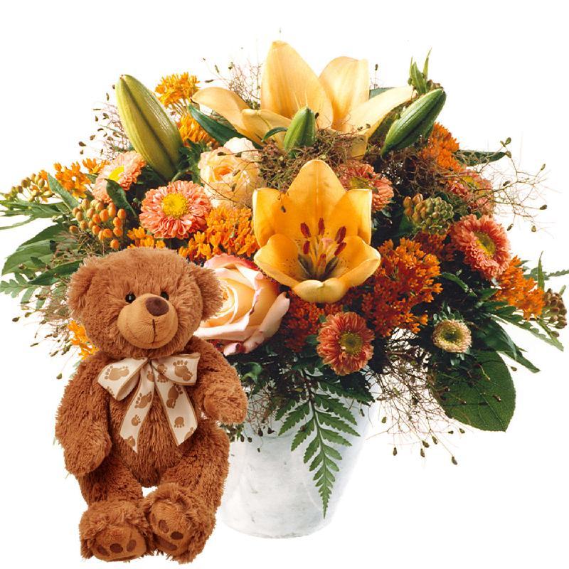 Bouquet de fleurs Vitality with teddy bear (brown)