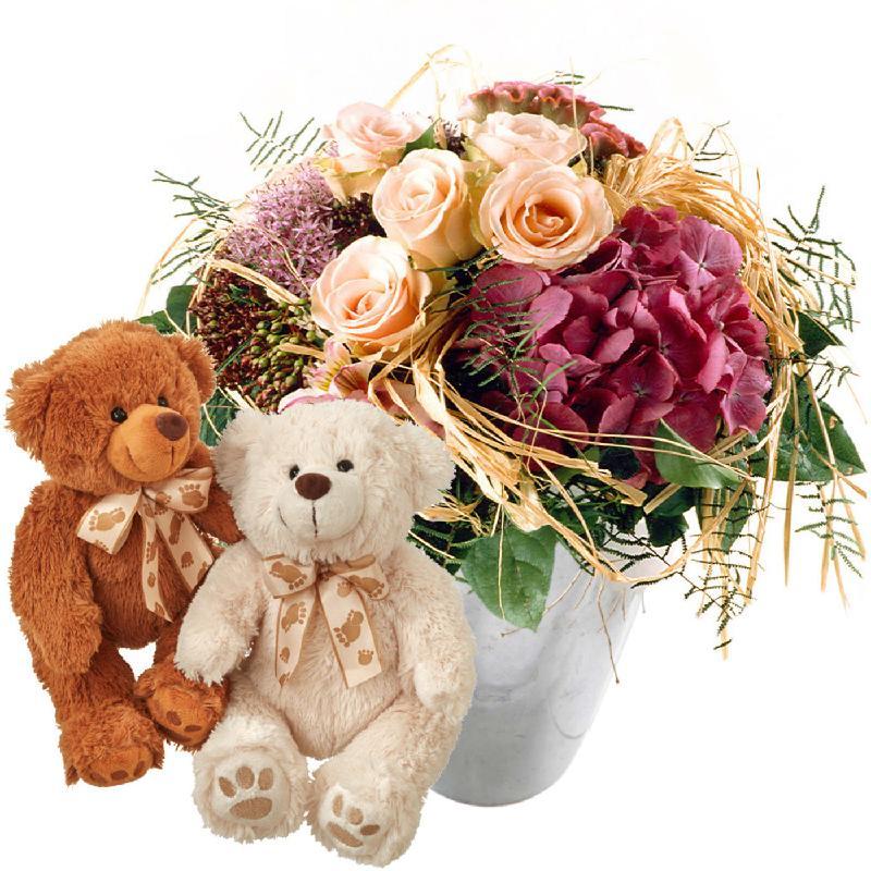 Bouquet de fleurs Romantic Hydrangea Bouquet with two teddy bears (white & bro