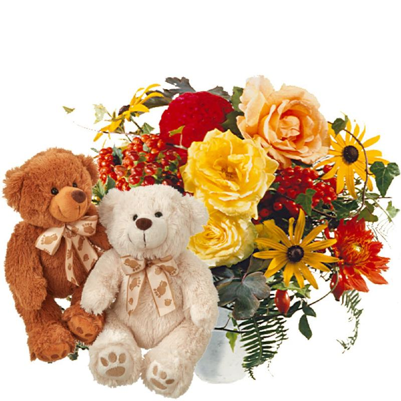 Bouquet de fleurs Cheerful Indian Summer with two teddy bears (white & brown)