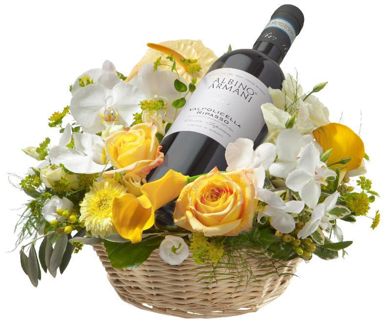 Bouquet de fleurs For Golden Moments, with Ripasso Albino Armani DOC (75cl)