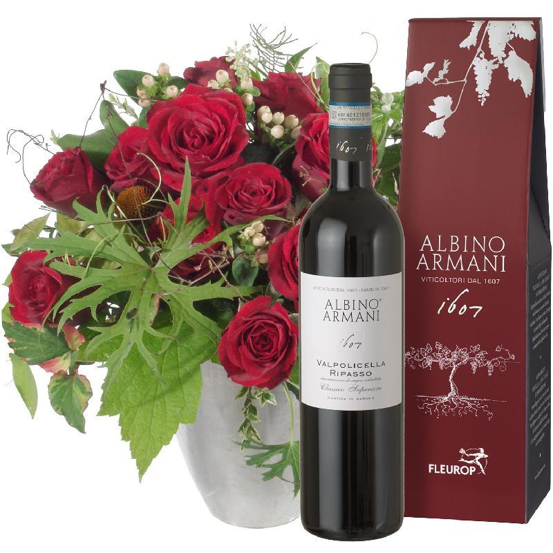 Bouquet de fleurs Bouquet I love with Ripasso Albino Armani DOC (75cl)