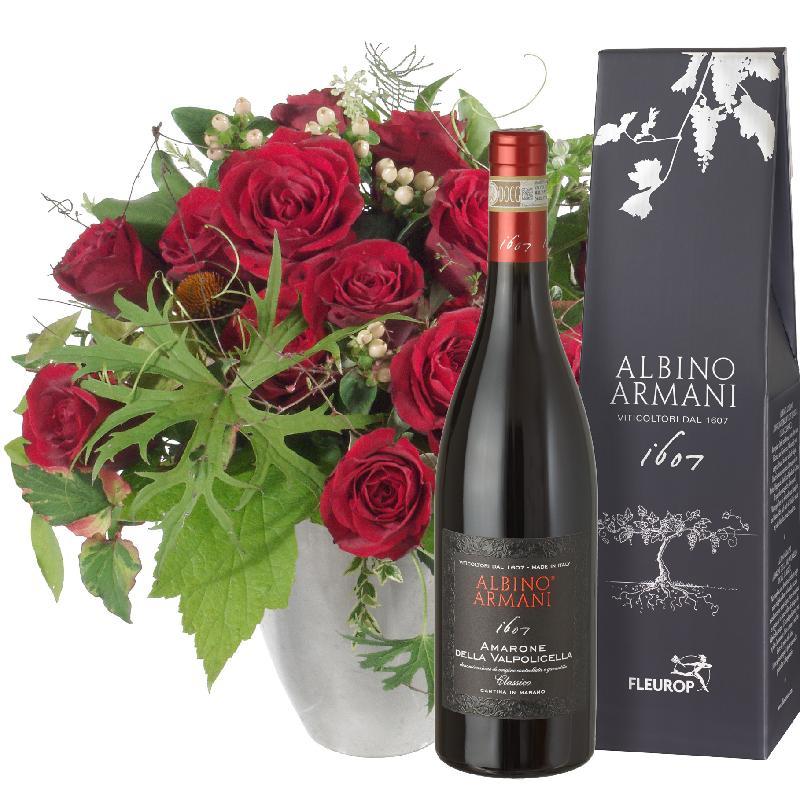 Bouquet de fleurs Bouquet I love you with Amarone Albino Armani DOCG (75cl)
