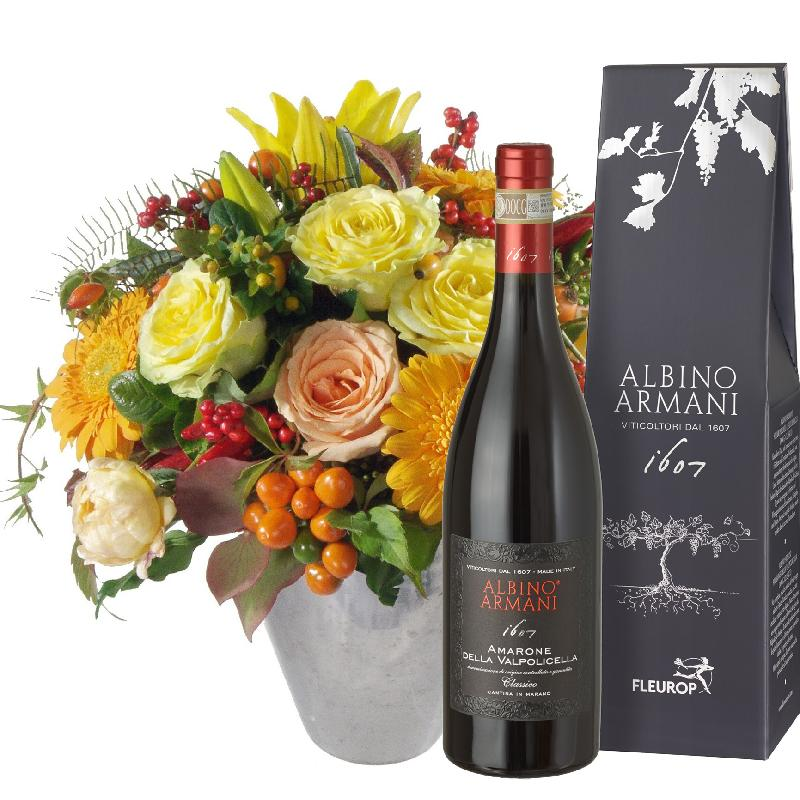 Bouquet de fleurs Southern Sun with Amarone Albino Armani DOCG (75cl)
