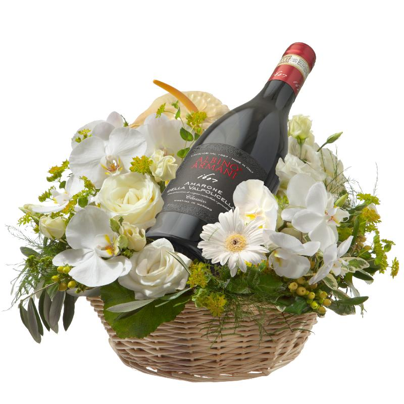 Bouquet de fleurs Mediterranean Dream with  Amarone Albino Armani  DOCG (75cl)