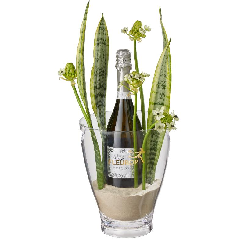 Bouquet de fleurs Happy Feelings: Prosecco Albino Armani DOC (75 cl) incl. ice