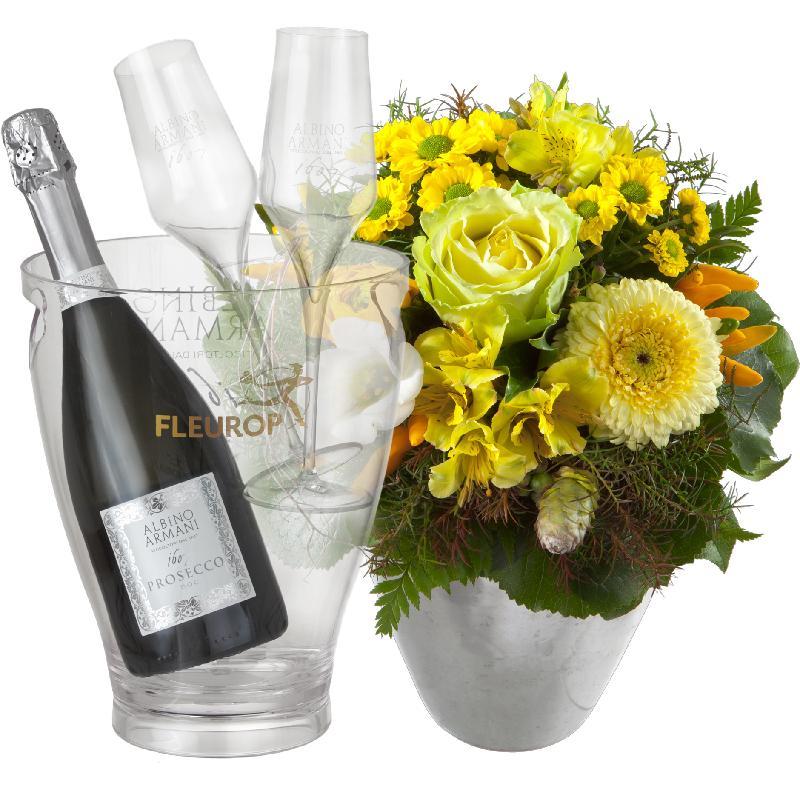 Bouquet de fleurs Happy Moments, with Prosecco Albino Armani DOC (75 cl), incl
