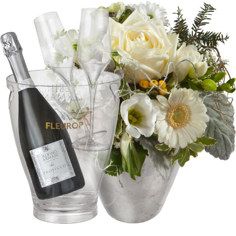 Bouquet de fleurs Winter Fairy with Prosecco Albino Armani DOC (75 cl) incl. i