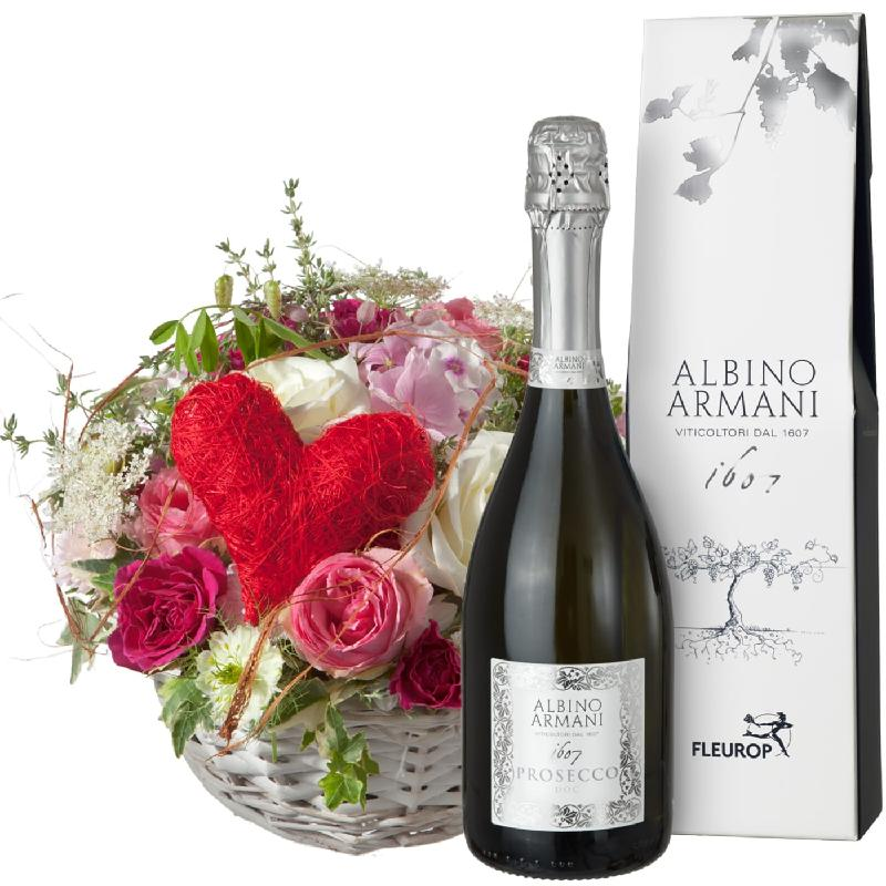 Bouquet de fleurs A Basket Filled with Love, with Prosecco Albino Armani DOC (