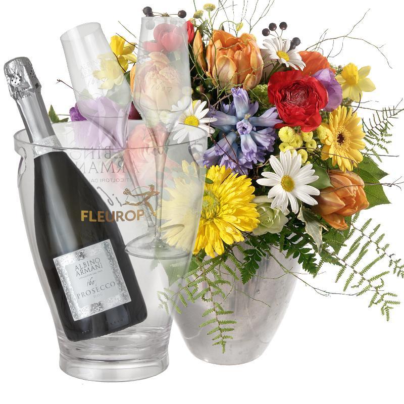 Bouquet de fleurs Happy with Prosecco Albino Armani DOC (75 cl) incl. ice buck