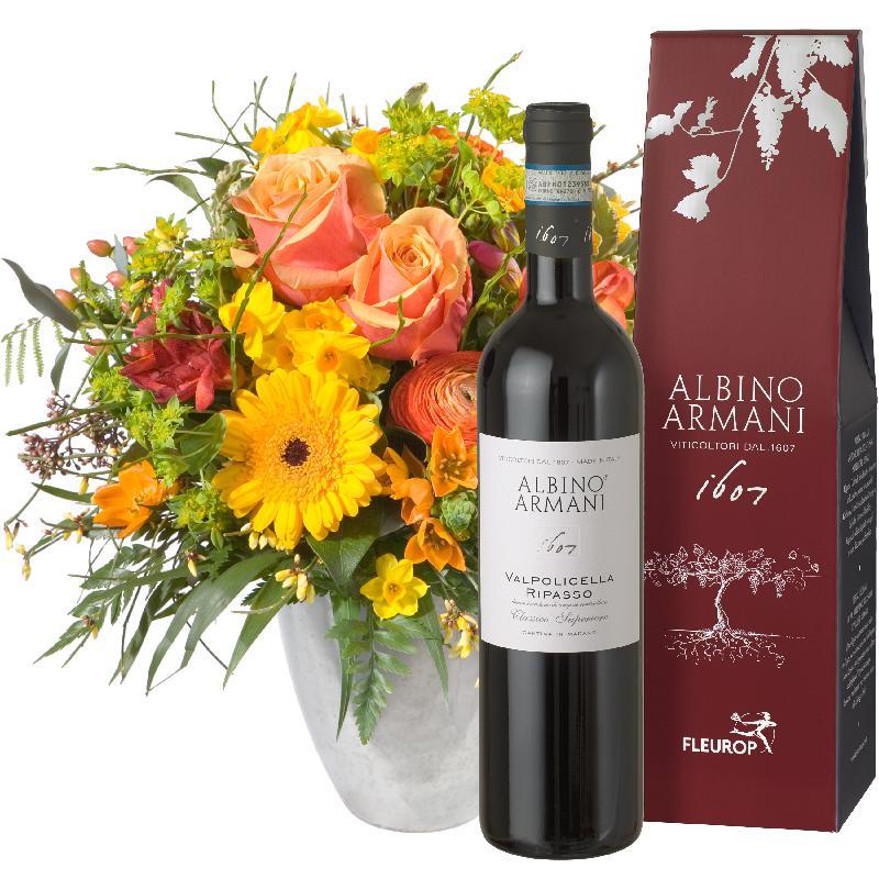 Bouquet de fleurs Sunny Spring Bouquet with Ripasso Albino Armani DOC (75cl)
