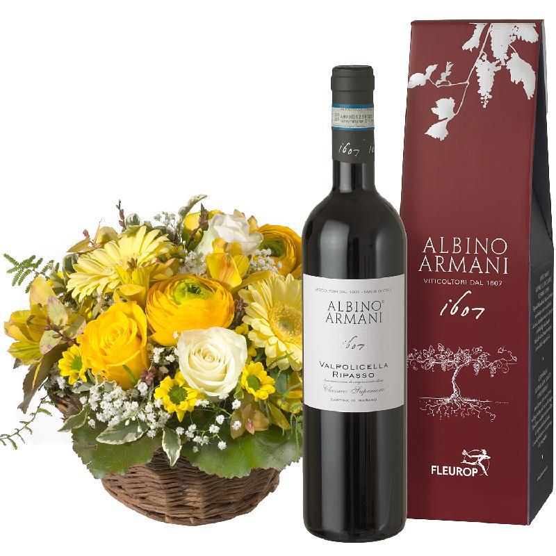 Bouquet de fleurs Our Sunshine with Ripasso Albino Armani DOC (75cl)