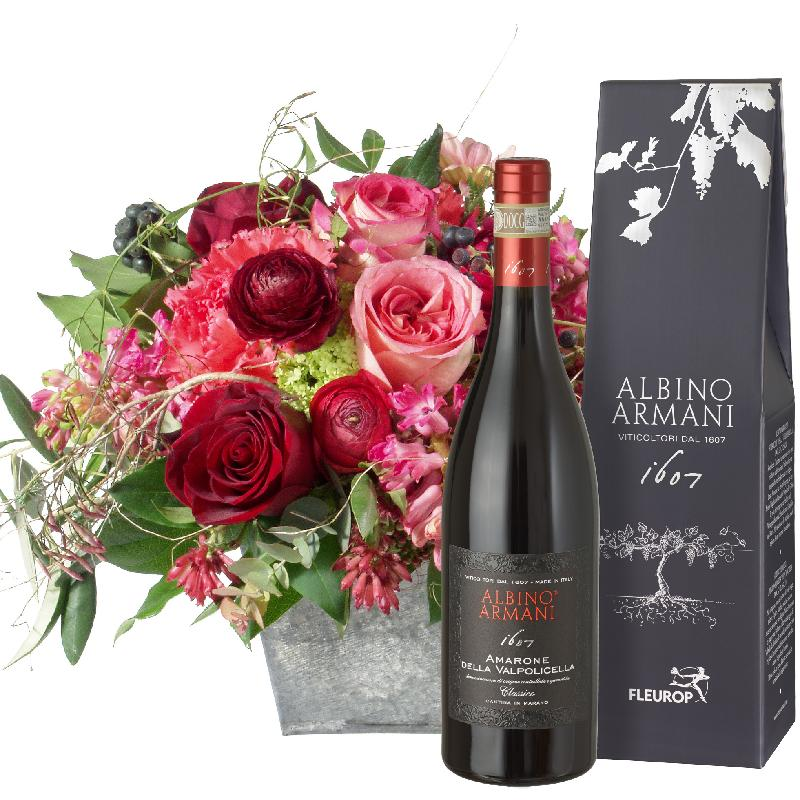 Bouquet de fleurs Poetry with Roses and Amarone Albino Armani DOCG (75cl)
