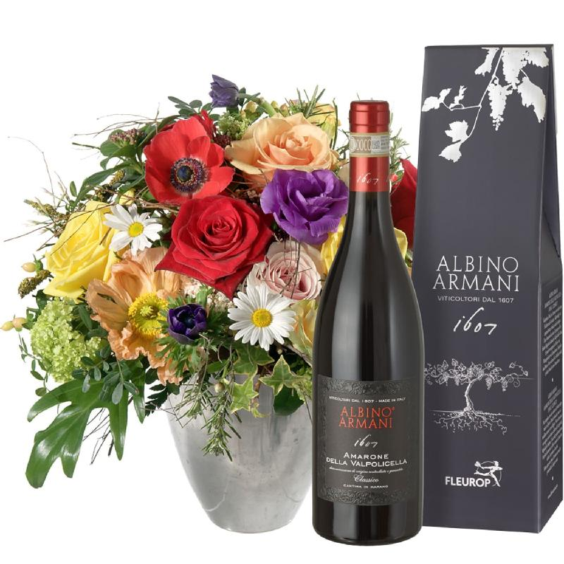 Bouquet de fleurs Cheerful Spring Bouquet with Amarone Albino Armani DOCG (75c