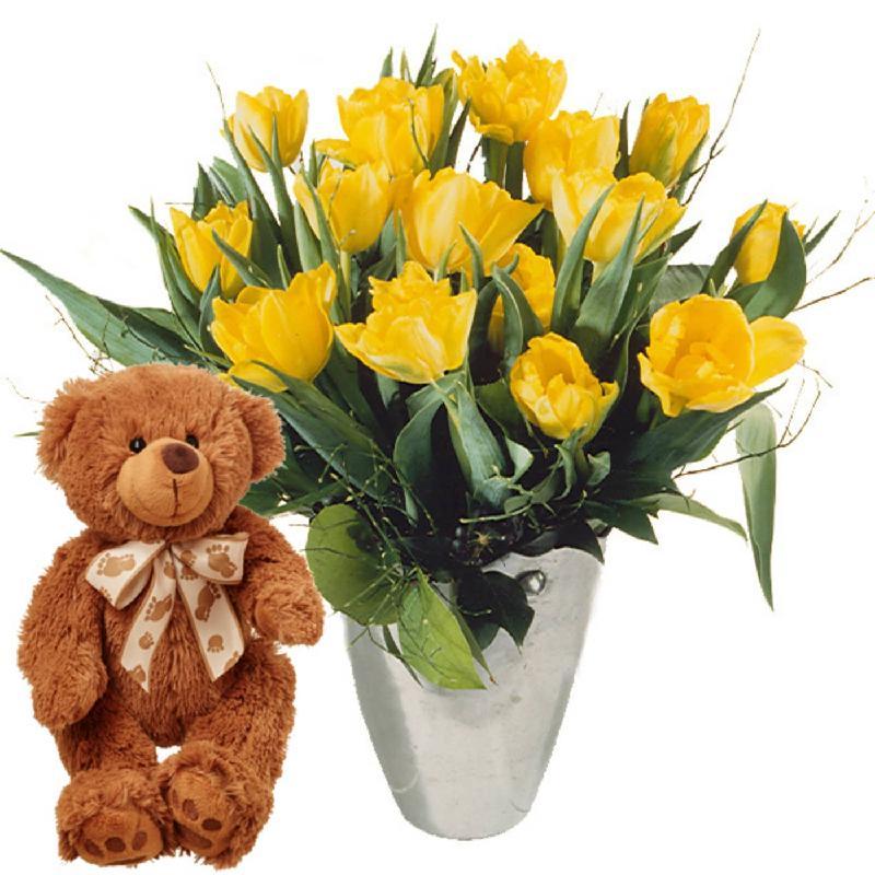 Bouquet de fleurs Bouquet of Tulips in Yellow with teddy bear (brown)