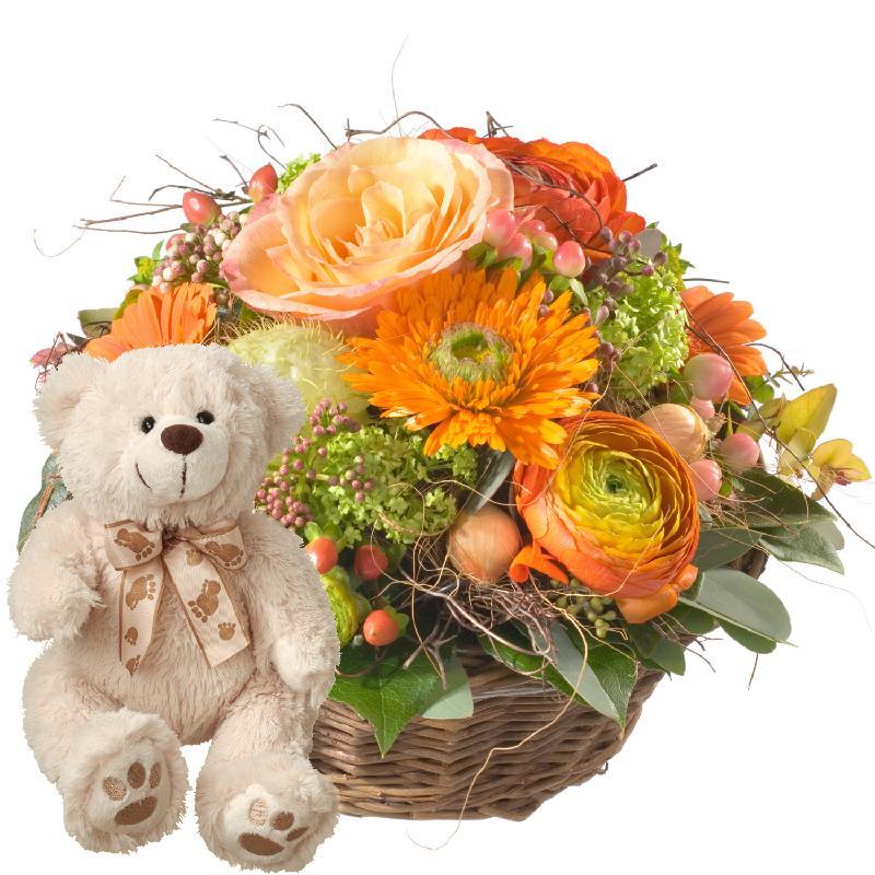 Bouquet de fleurs Pure Spring, with teddy bear (white)