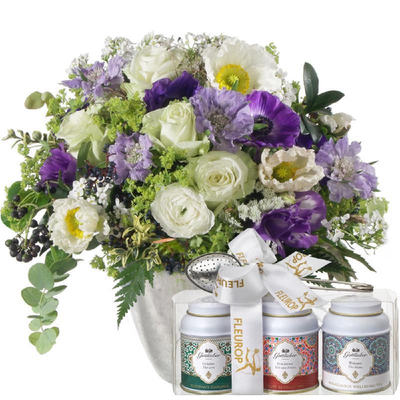 Bouquet de fleurs Heaven on Earth, with Gottlieber tea gift set