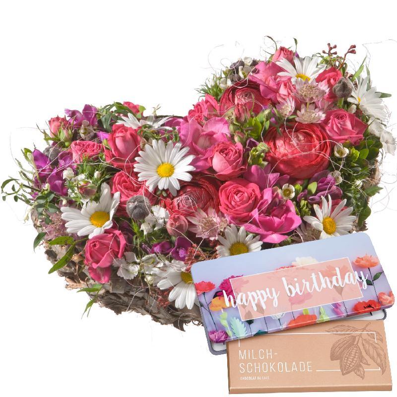 "Bouquet de fleurs Dearest Heart ... with bar of chocolate ""Happy Birthday"""