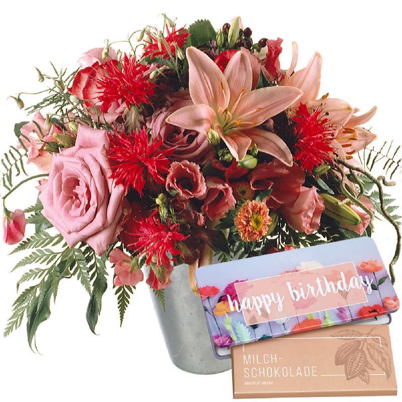 "Bouquet de fleurs Lily Princess with bar of chocolate ""Happy Birthday"""