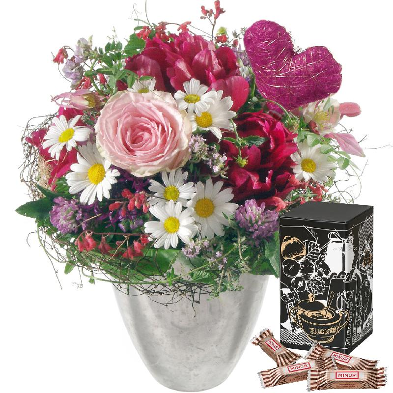 Bouquet de fleurs Just for You ... with Minor Split in trendy gift tin
