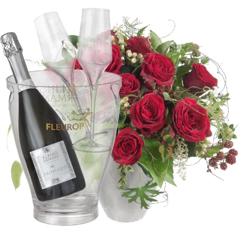 Bouquet de fleurs Bouquet I Love You, with Prosecco Albino Armani DOC (75 cl),
