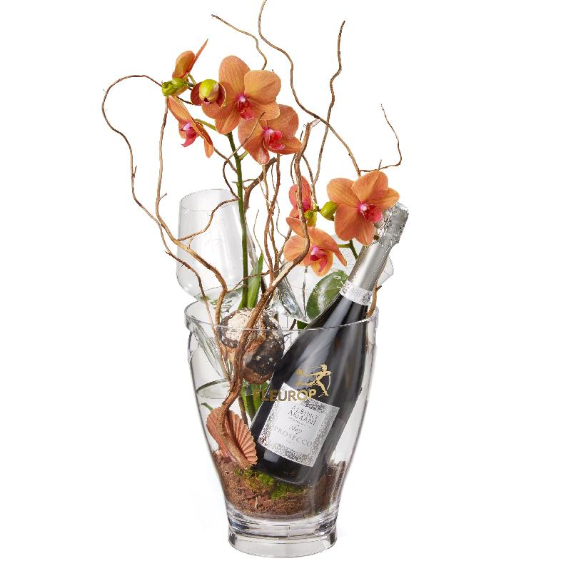Bouquet de fleurs A Touch of Exotic: Prosecco Albino Armani DOC (75 cl), incl.