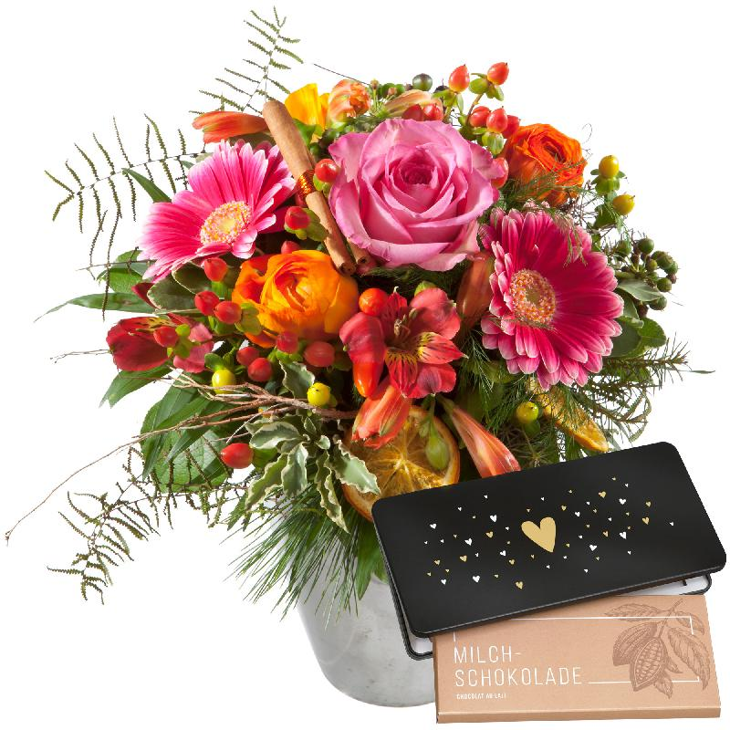 """Bouquet de fleurs Happy Day and bar of chocolate """"Heart"""""""