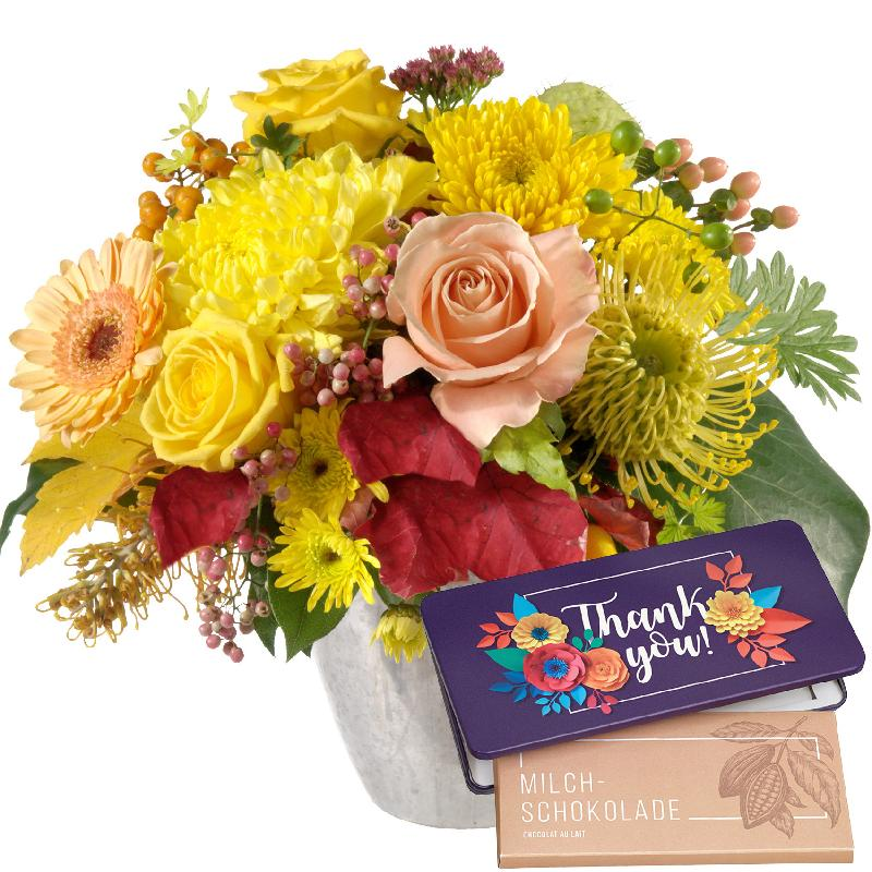 """Bouquet de fleurs Let the Sunshine in with bar of chocolate """"Thank you"""""""