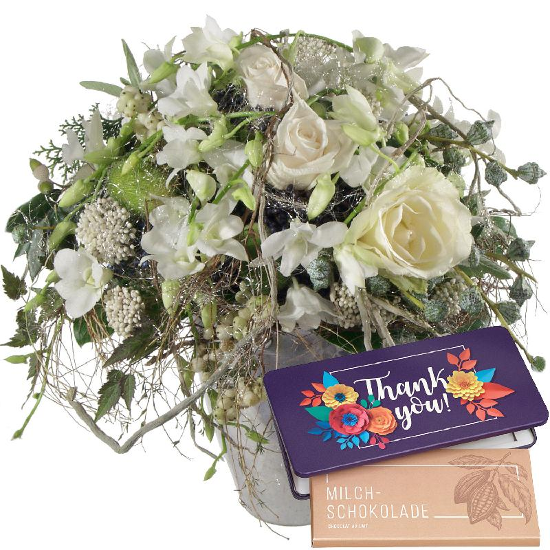 "Bouquet de fleurs Snowqueen with bar of chocolate ""Thank you"""