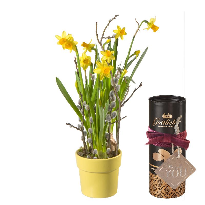 Bouquet de fleurs Hello Spring ... with Gottlieber cocoa almonds and hanging g