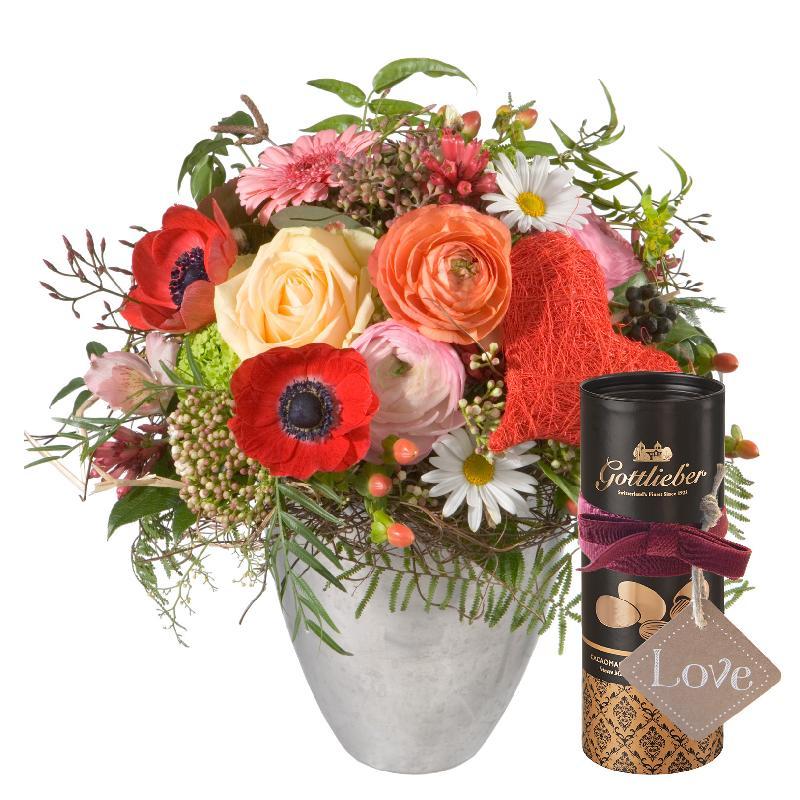 Bouquet de fleurs Valentine's Day Bouquet with Gottlieber cocoa almonds and ha