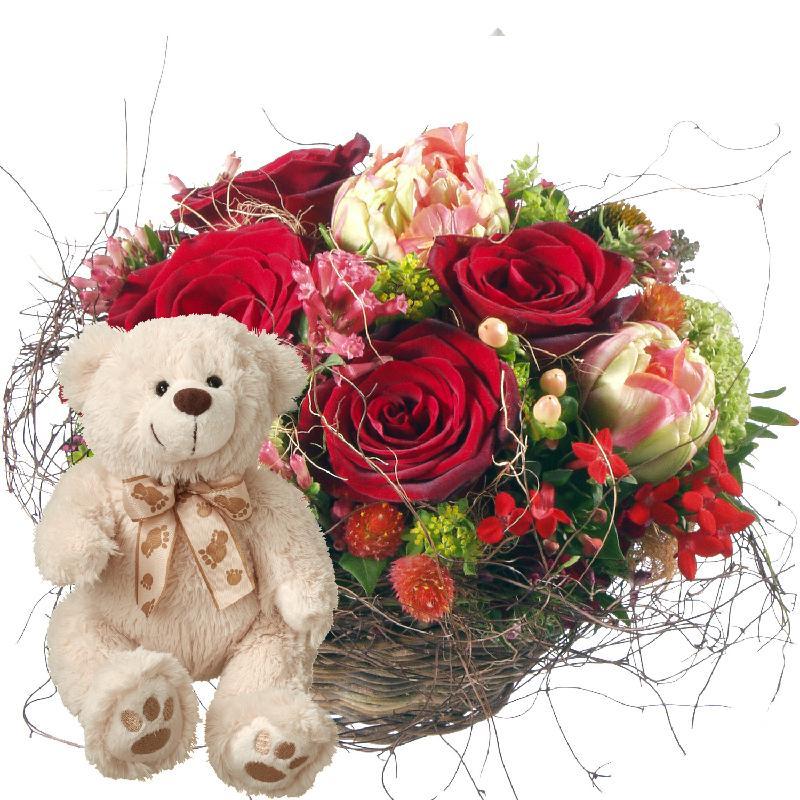 Bouquet de fleurs For my Darling, with teddy bear (white)