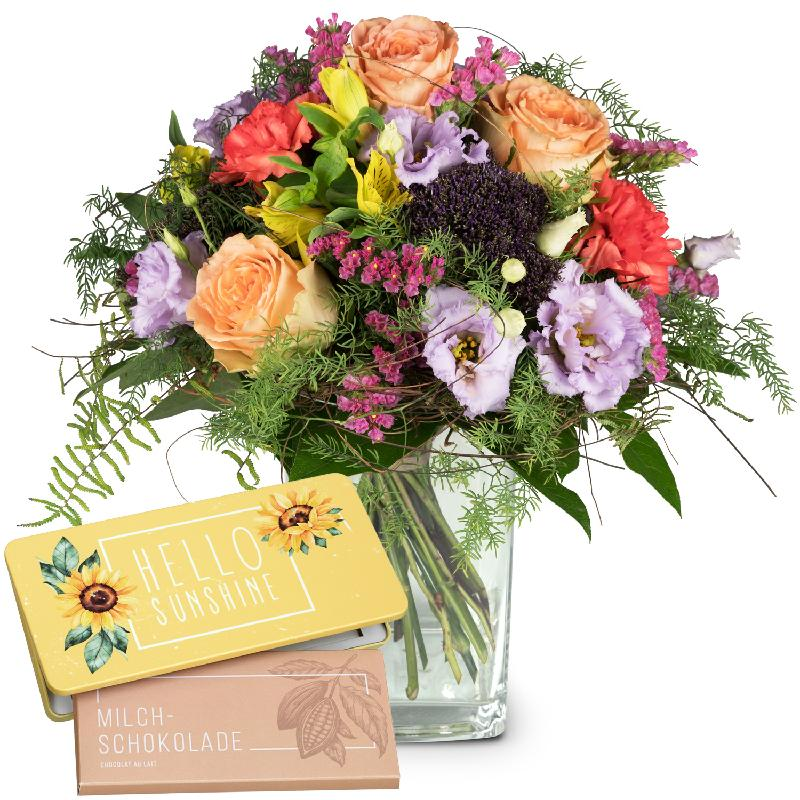 Bouquet de fleurs Symphony of Colors bar of chocolate «Hello Sunshine»