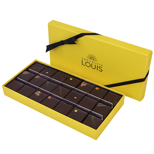 Assortiment de ganaches et pralinés chocolat noir X 21