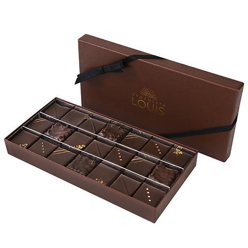 Bouquet de fleurs Coffret pralinés chocolat noir X 21