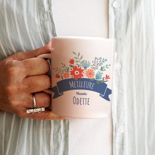 Mug personnalisé et ses biscuits - Mamie fleurie