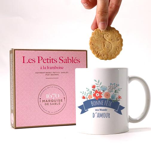 null Mug personnalisé et ses biscuits - Mamie fleurie