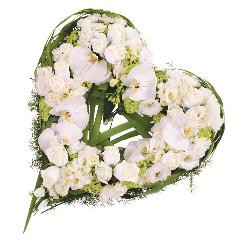 C ur de roses et orchid es phalaenopsis blanches interflora - Bouquet de fleur en coeur ...