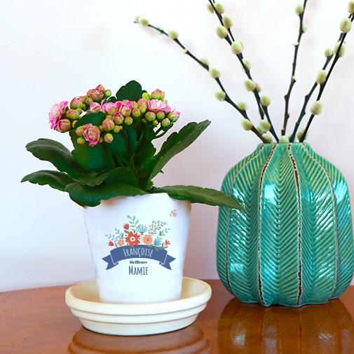 Pot de fleurs personnalisé - Mamie fleurie