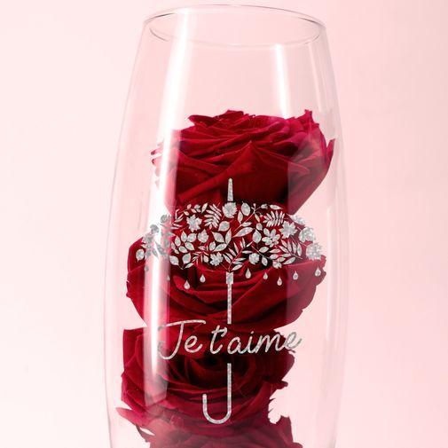 null Roses rouges éternelles et leur vase gravé personnalisable