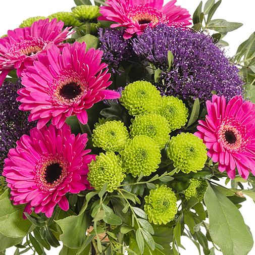 Fleurs deuil Bouquet de saison dans des tons rose, mauve et vert.